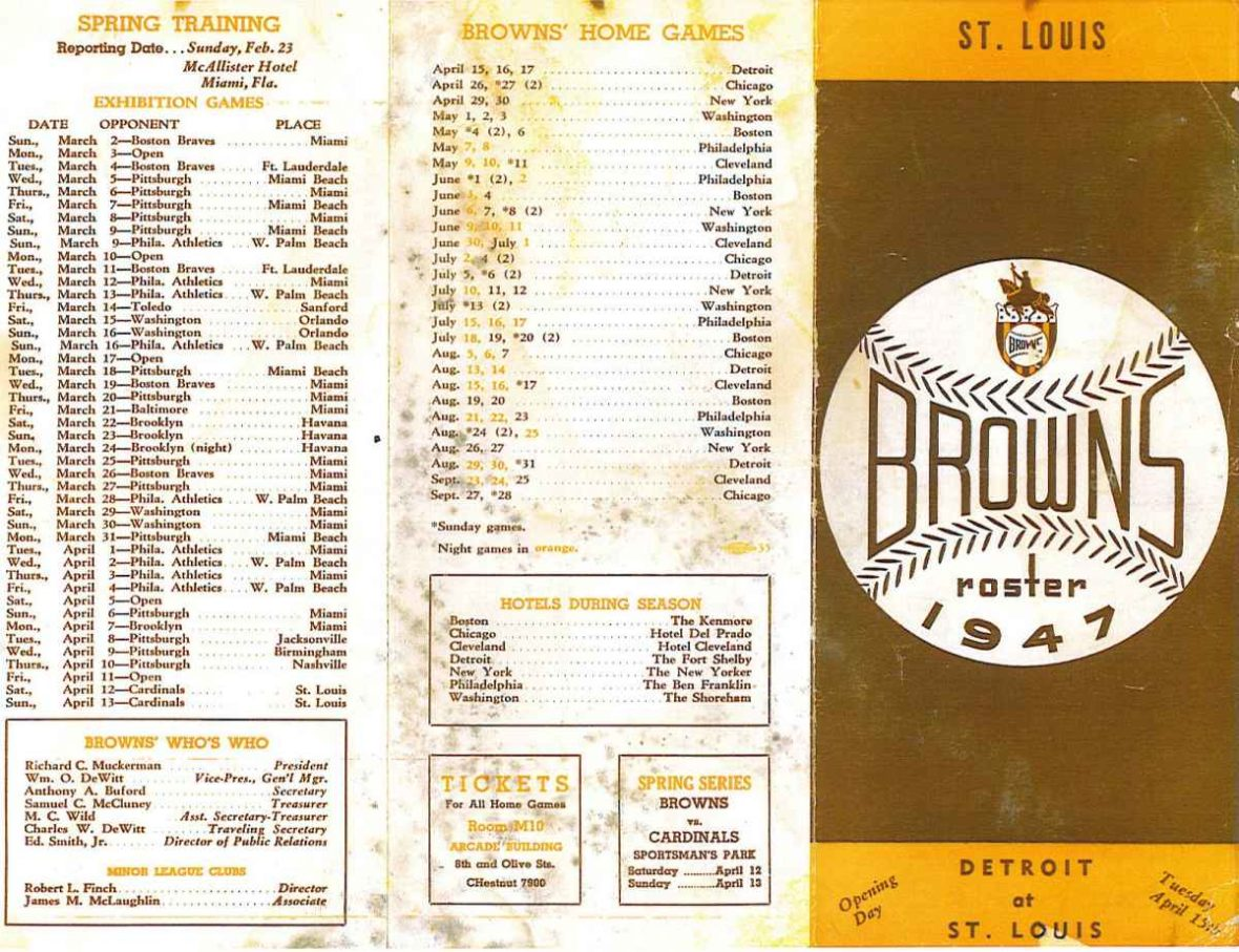 St. Louis Browns baseball team1947 roster sheet