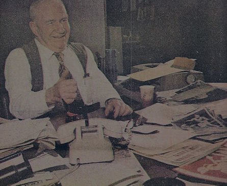 Frank Hyde at his desk
