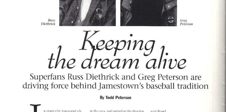 Page one of article in1995 Jamestown Jammers program book.