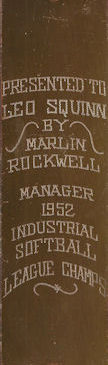 Tag from an award presented to Leo Squinn by Marlin Rockwell for being manager of the 1952 Industrial Softball League Champions