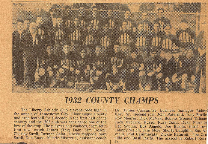Newspaper photo of 1932 Liberty Athletic Club football team as 1932 County Champions