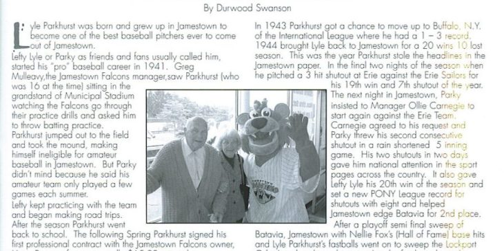 Photocopy of first page of magazine story titled Memories of Lyle Parkhurst.