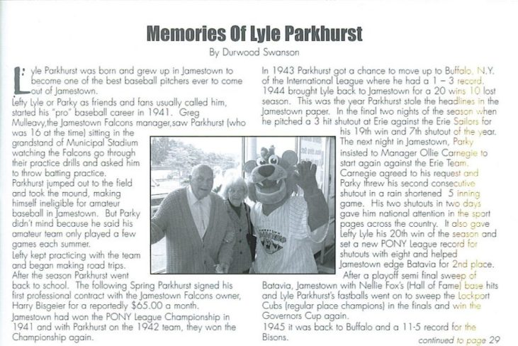 photocopy of first page of magazine story Memories of Lyle Parkhurst