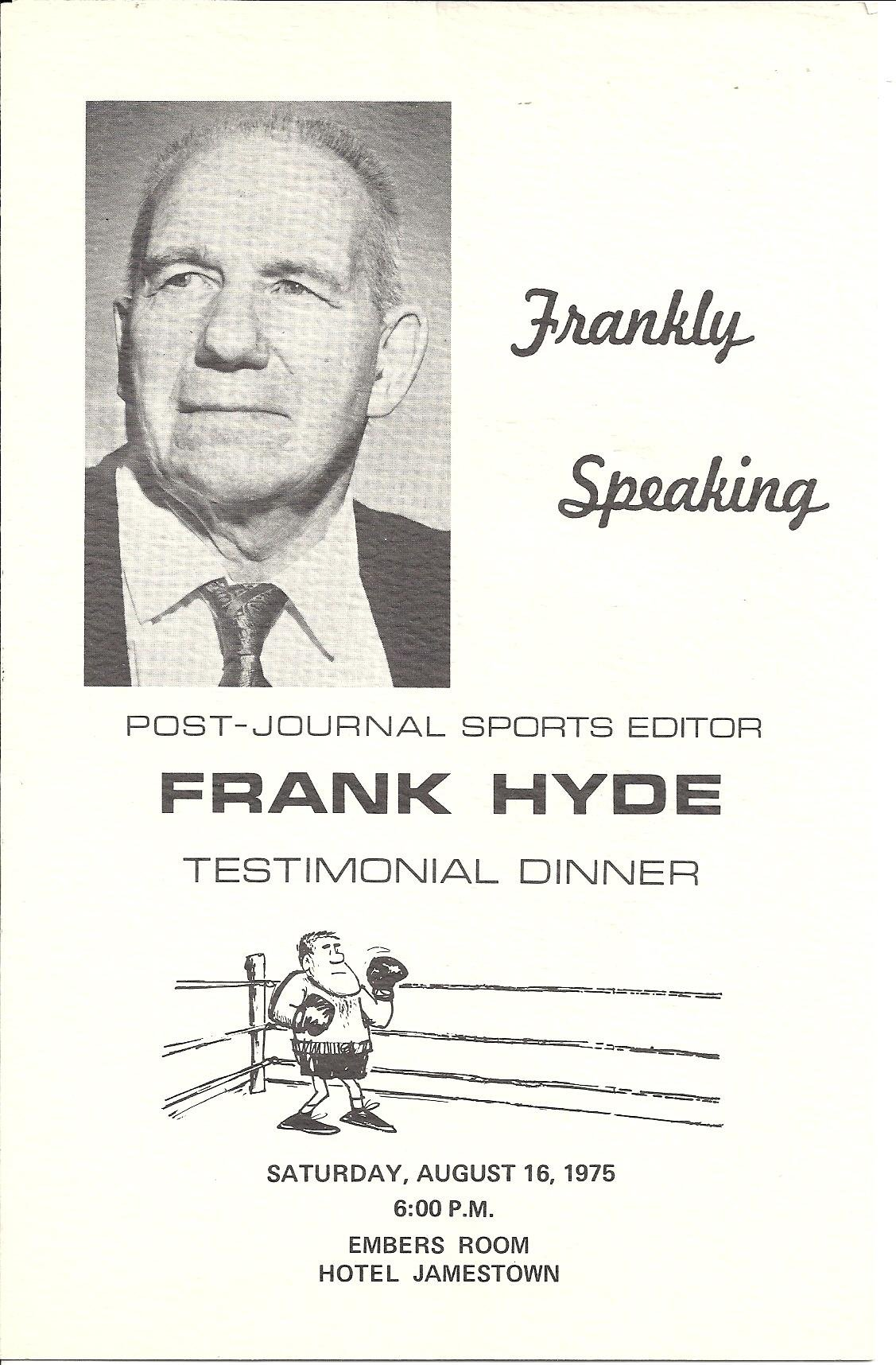 Frank Hyde Testimonial Dinner program booklet cover
