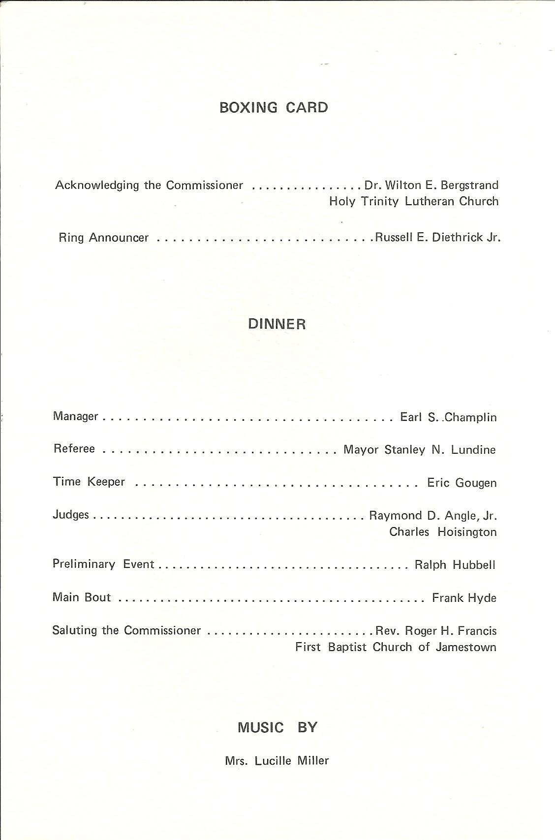 Frank Hyde Testimonial Dinner program booklet page 2