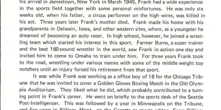 Frank Hyde Testimonial Dinner program booklet page 3