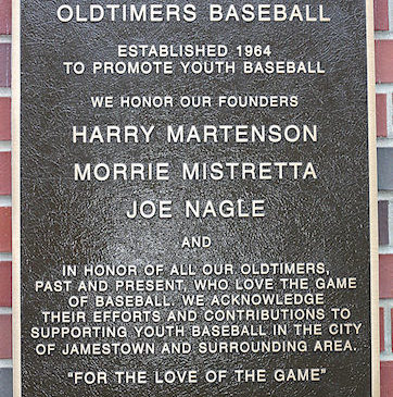 Jamestown and Area Oldtimers Baseball plaque at Diethrick Park