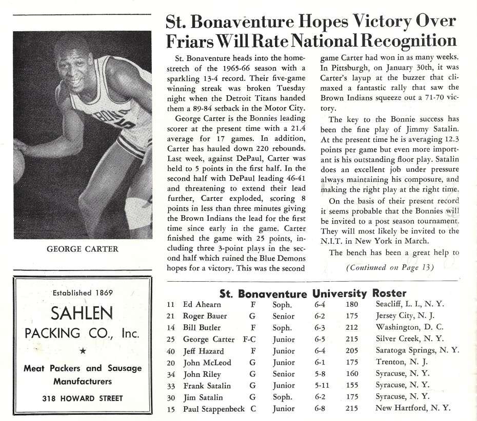 1966 St. Bonaventure basketball program feature