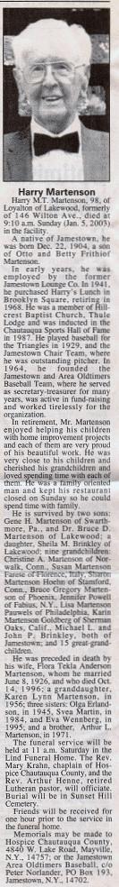 Harry Martenson obituary