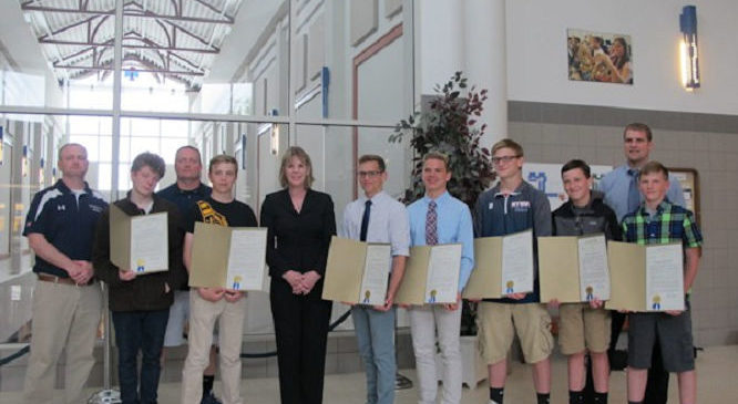 Members of the Chautauqua Lake/Panama/Westfield Varsity Wrestling Team are presented with legislative recognition from Sen. Catharine Young for earning the 2015-16 Joe Annarella Team Sportsmanship Award.