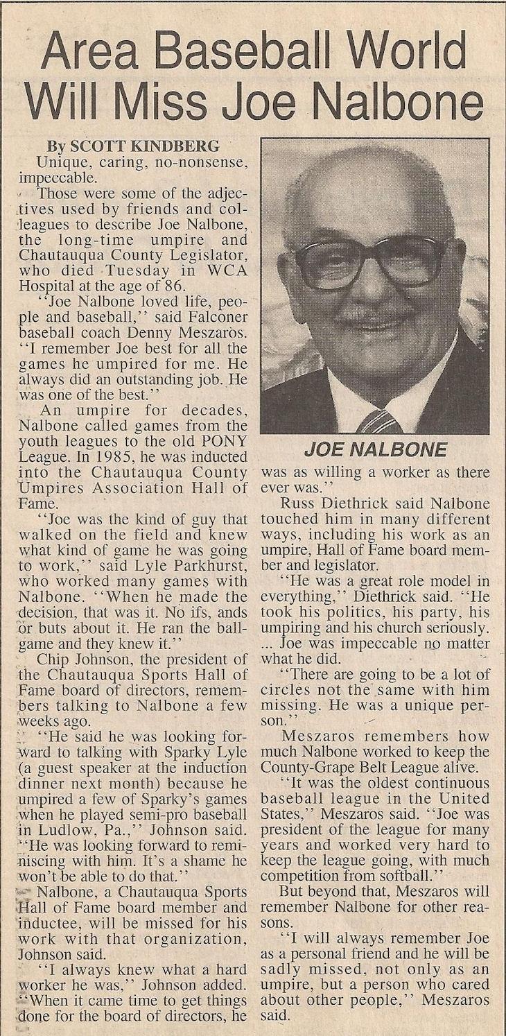 Area Baseball World Will Miss Joe Nalbone