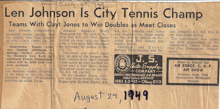 newspaper article headlined Len Johnson Is City Tennis Champ