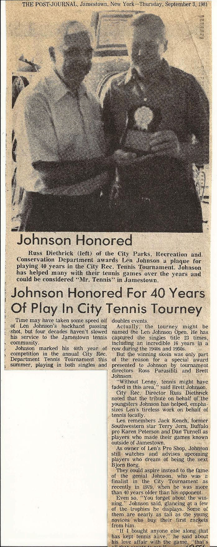 Johnson Honored For 40 Years Of Play In City Tennis Tourney