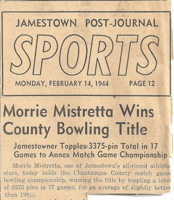 Morrie Mistretta Wins County Bowling Title