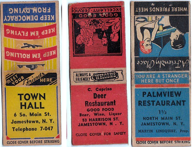 Town Hall, Deer and Palmview matchbooks
