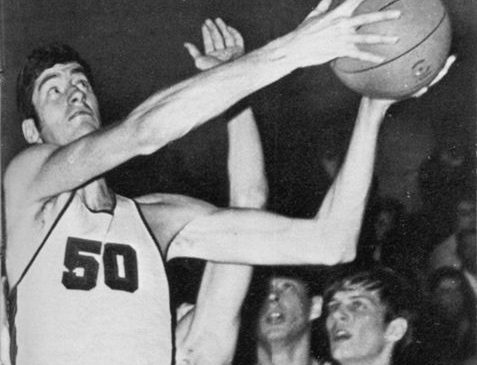 Donn Johnston drives to the basket during a Jamestown High School basketball game in the 1968-69 season.