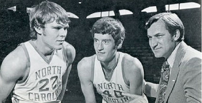 Jamestown native Donn Johnston, center, is seen with teammate George Karl (22) and North Carolina coach Dean Smith.