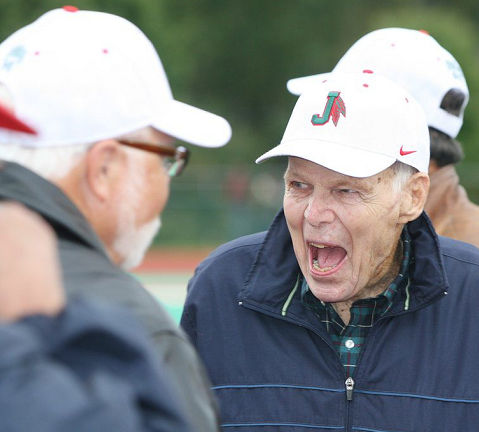 Former Jamestown High School football coach Terry Ransbury returned to the city in September 2014 for the reunion of his undefeated 1964 team.