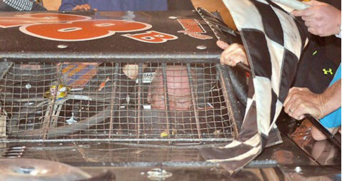 Barton prepares to leave his retro car.
