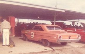 Buesink's 1964 ARCA car driven by Mike Klapak in garage at Daytona.