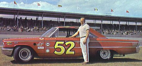 Cale Yarborough by Buesink's 1963 Grand National Ford. Rene Charland wrecked this car at Daytona.