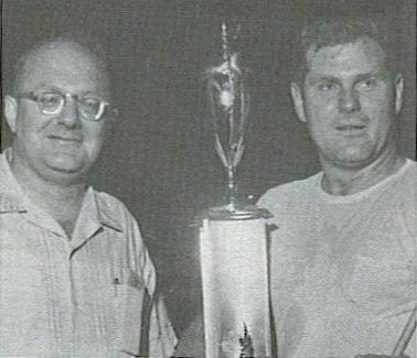 Julian Buesink and Bob Duell, MARC driver, 1961.