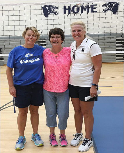 Current Panama volleyball coach Tammy Hosier, left, is pictured with former coach Deb Palmer, center, and Jolene Nagel.