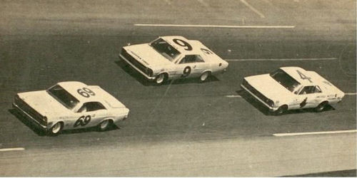 Jack Shanklin in the #9 Buesink owned Ford before he flipped it at Daytona in 1967.