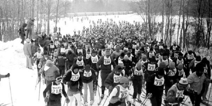 Skiers taking part in the 1982 Chautauqua Ski Marathon.