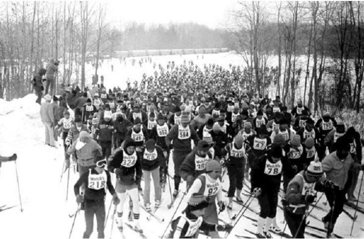 Skiers taking part in the 1982 Chautauqua Ski Marathon.