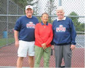 Former Southwestern tennis coaches Rod Beckerink, left, and Anne Tenney Smith, center, are pictured with new coach Tom Anderson.
