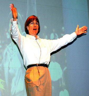 Tara VanDerveer makes a point during her talk at the Scharmann Theatre at Jamestown Community College on Wednesday night. P-J photo by Scott Kindberg.