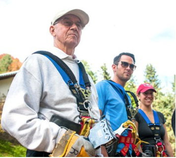 Art Asquith, Josh Powers and Asquith's granddaughter, Kaitlin Condon during a recent trip to Sky High Adventure Park.