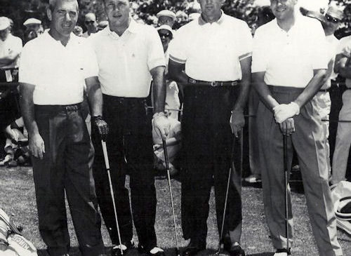 From left, Moon Brook Country Club pro Toby Lyons, Arnold Palmer, Art Wall Jr. and Moon Brook club champion Ben Bishop.