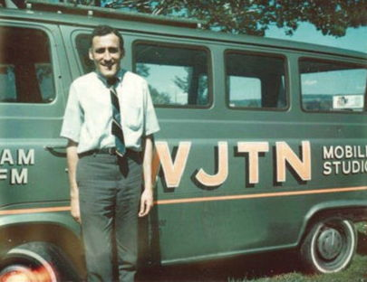 Jim Roselle early on in his 61-year radio career with WJTN.