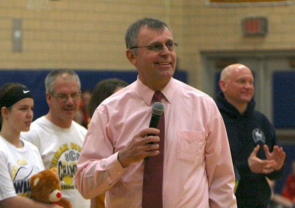 Sherman Central School girls basketball coach Mel Swanson addresses the crowd.