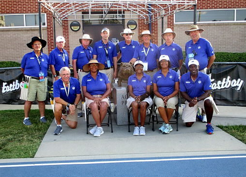 Tom Priester is pictured with the other officials at this year's New York State Public High School Athletic Association Track & Field Championships.