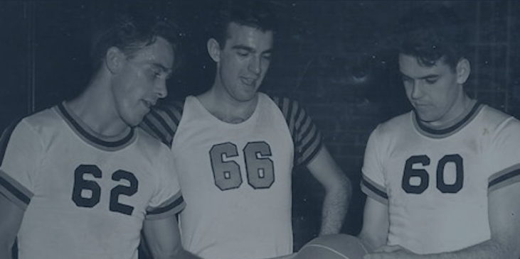 Bill Present with Cleveland Browns players Cliff Lewis (left) and Otto Graham (right). Circa 1949.