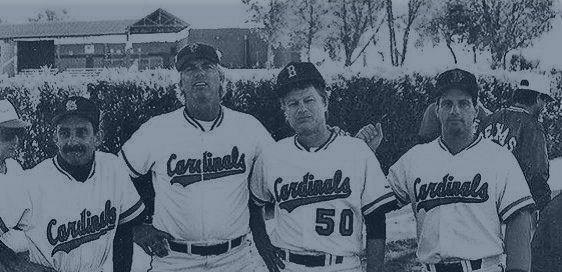 Charlie LaDuca, far right, has played in Men's Senior Baseball League World Series with former Major Leaguers, including pitchers Bill Lee, second from left, and Jim Bouton, second from right.