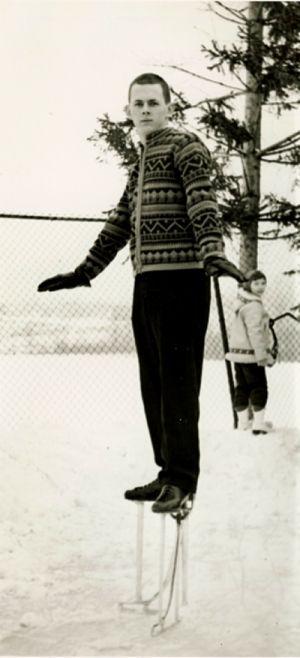 Dave Videll on stilt skates.