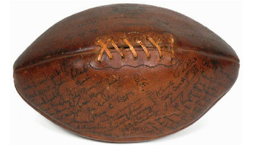 1928 football signed by Gene Mahoney.