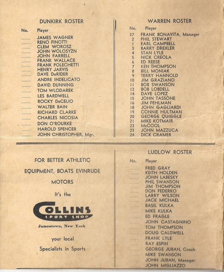 1958 Intercity Baseball League rosters
