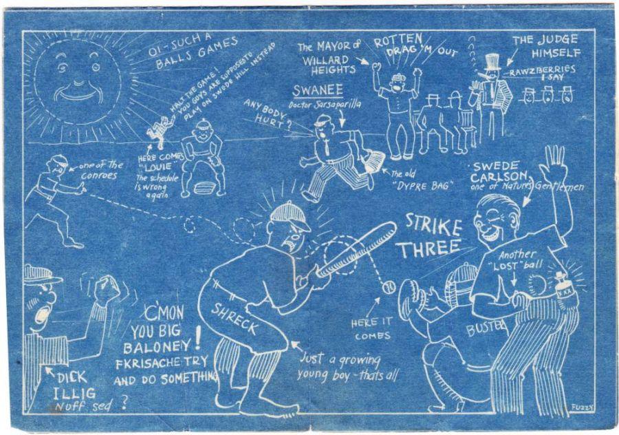 1927 Jamestown Baseball Association banquet program cartoon