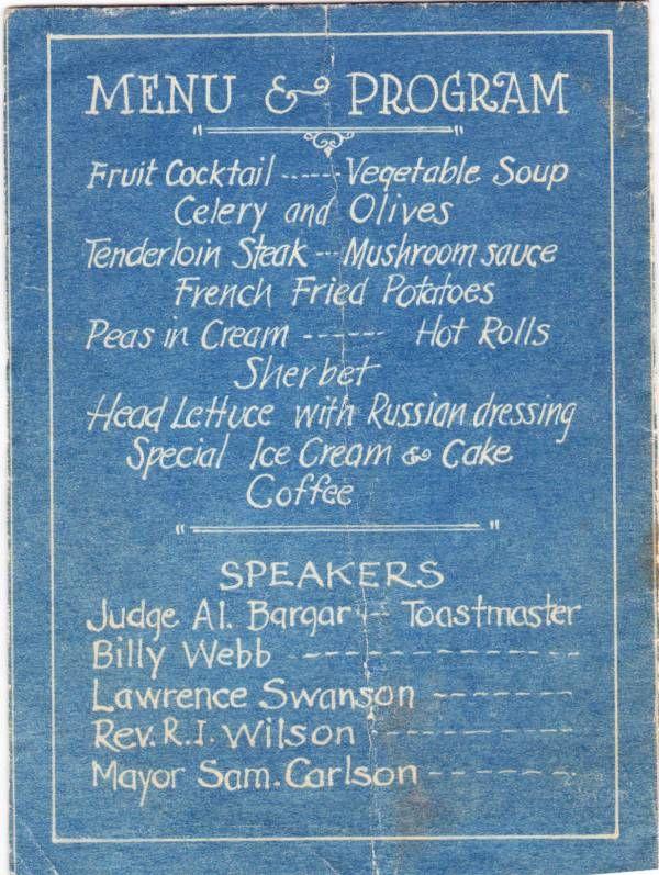 1927 Jamestown Baseball Association banquet menu