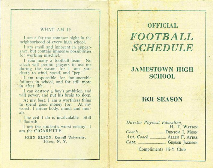 1931 JHS Football schedule
