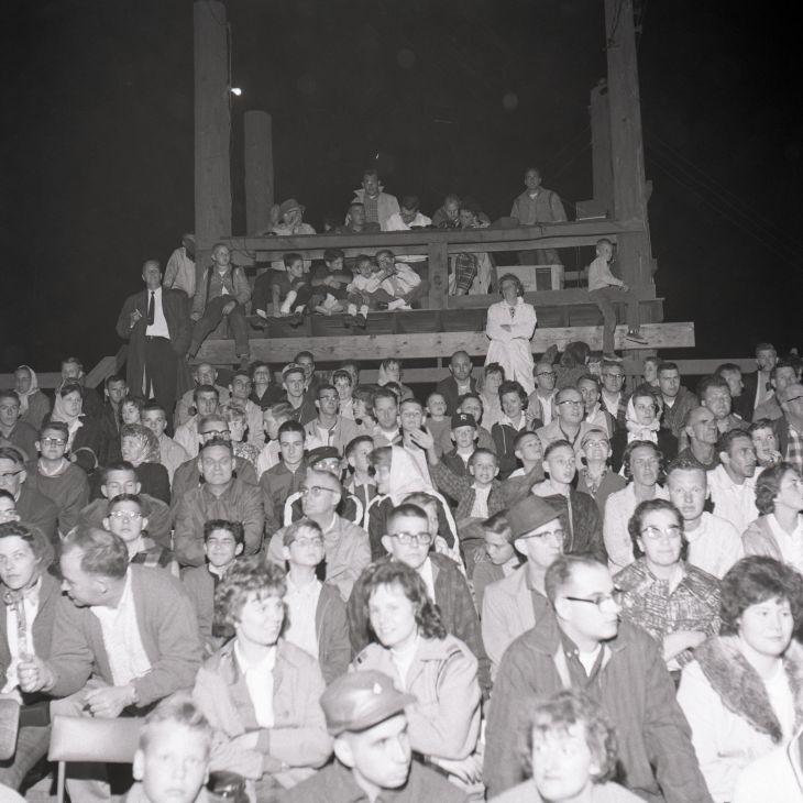 Stateline Speedway announcer's booth, 1963