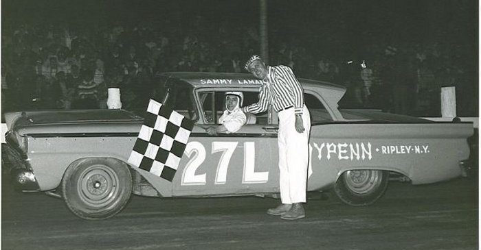 Sammy LaMancuso gets the checkered flag.