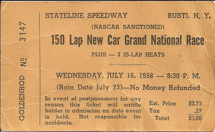 Ticket to NASCAR race held at Stateline Speedway