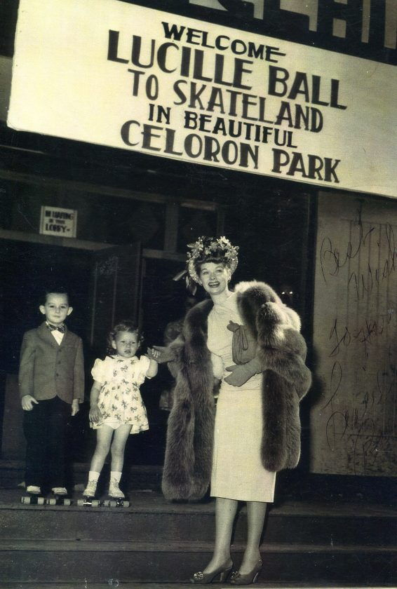 Lucille Ball poses with two young children at the Skateland Roller Rink in Celoron Park in the 1950s.
