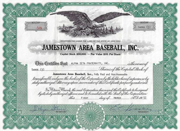 1957 stock certificate